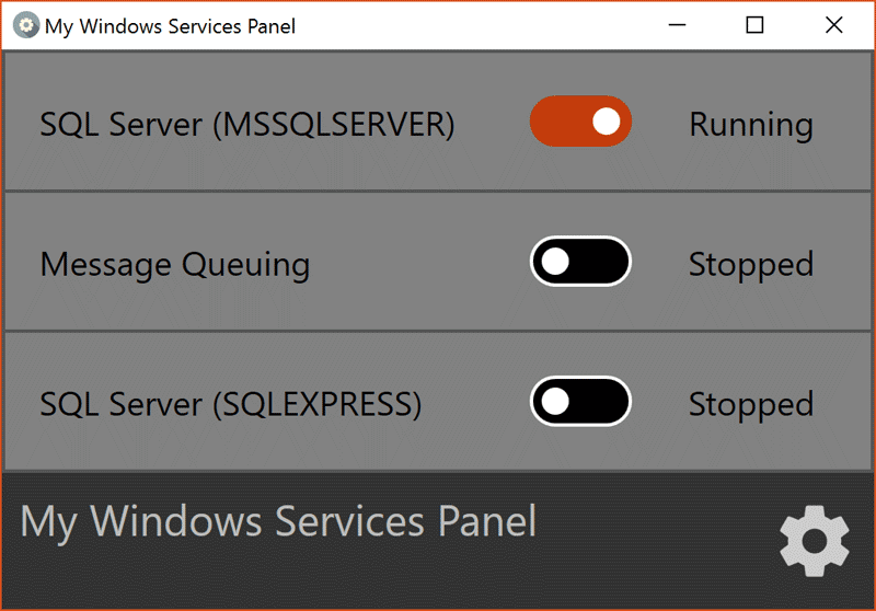 My Windows Services Panel main screen
